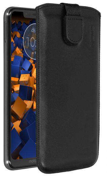 Leder Etui Tasche mit Ausziehlasche schwarz für Motorola One