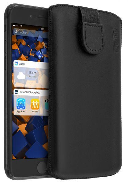 Leder Etui Tasche mit Ausziehlasche schwarz für Apple iPhone 8 Plus / 7 Plus
