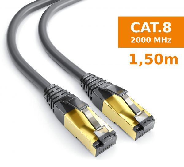 CAT 8 Rohkabel mit RJ45 Steckern Netzwerkkabel 1,5 Meter Kabel in Schwarz