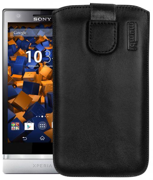 Leder Etui Tasche mit Ausziehlasche schwarz für Sony Xperia P