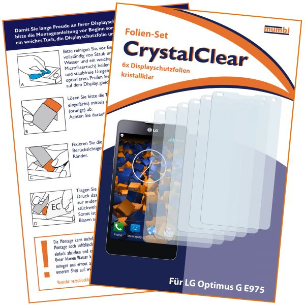 Displayschutzfolie 6 Stck. CrystalClear für LG E975 Optimus G