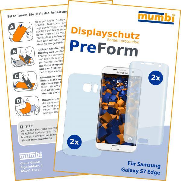 Displayschutzfolie 4 Stck. PreForm für Samsung Galaxy S7 Edge (2x vorne 2x hinten)