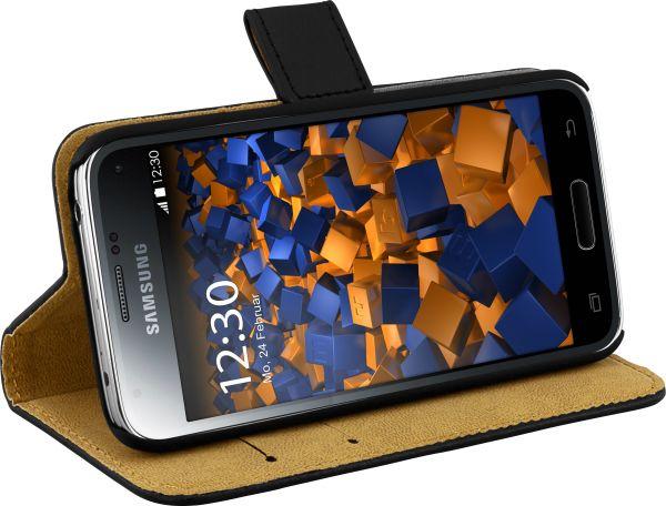 Bookstyle Ledertasche schwarz für Samsung Galaxy S5 Mini