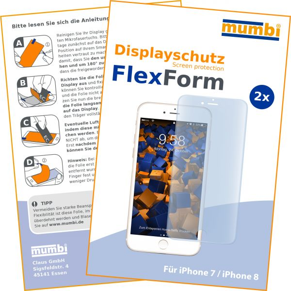 Displayschutzfolie 2 Stck. FlexForm für Apple iPhone 8 / 7