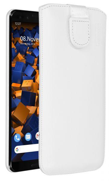Leder Etui Tasche mit Ausziehlasche weiß für Google Pixel 3
