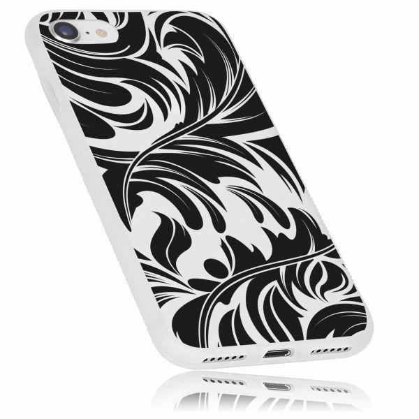 TPU Hülle Grip weiß transparent Motiv Blatt für Apple iPhone 8 / 7