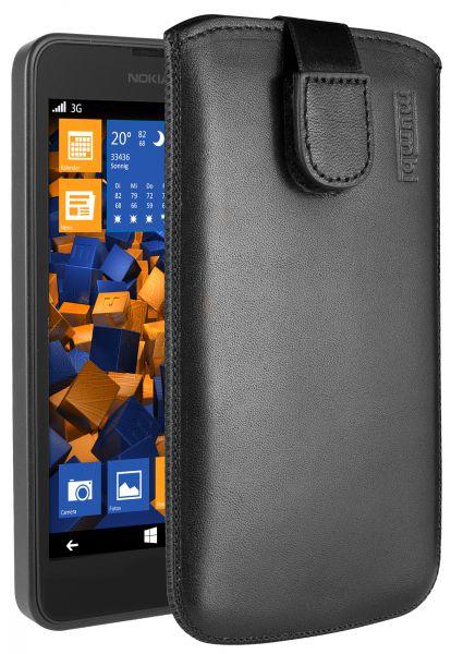 Leder Etui Tasche mit Ausziehlasche schwarz für Nokia Lumia 630 / 635