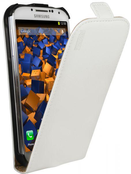 Flip Case Ledertasche weiß für Samsung Galaxy S4