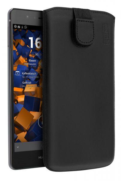 Leder Etui Tasche mit Ausziehlasche schwarz für Huawei P9 Lite