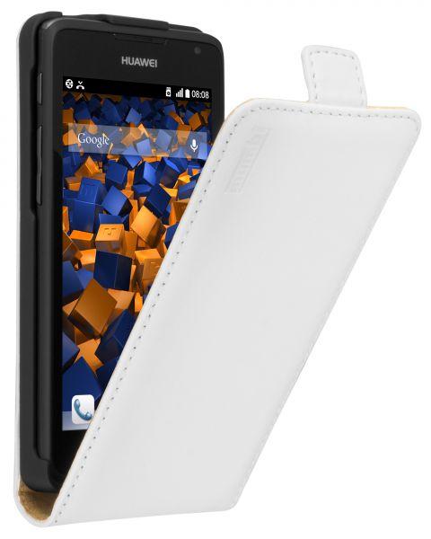 Flip Case Ledertasche weiß für Huawei Ascend Y530