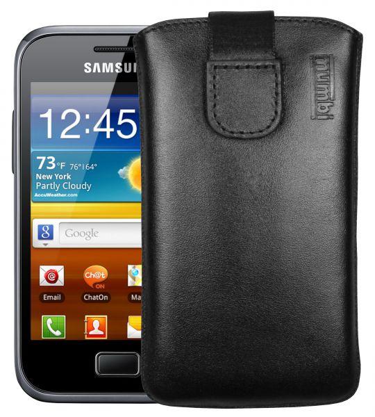 Leder Etui Tasche mit Ausziehlasche schwarz für Samsung Galaxy Ace Plus