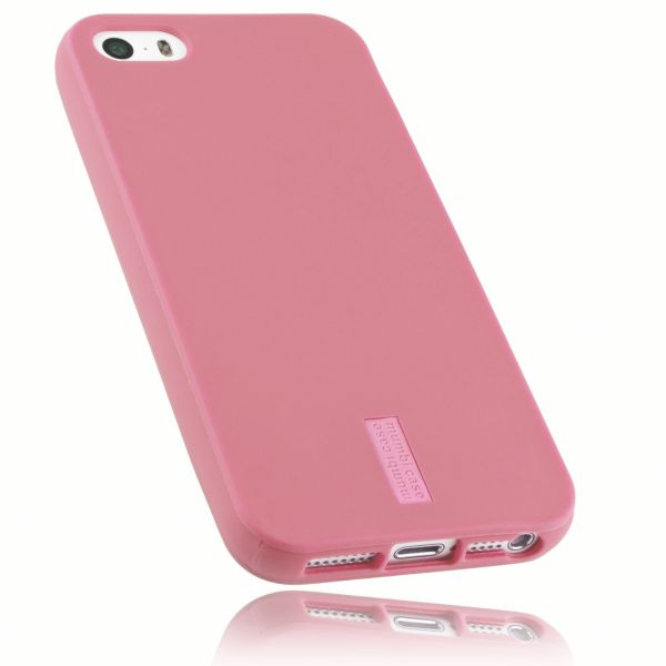 TPU Hülle rosa mit Logo für Apple iPhone SE / 5 / 5s