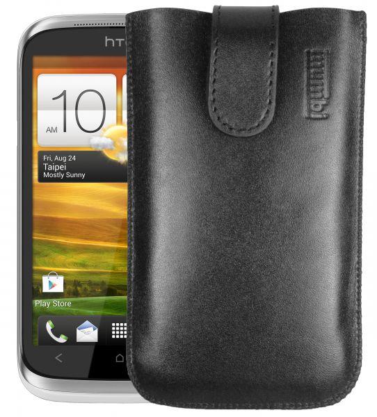 Leder Etui Tasche mit Ausziehlasche schwarz für HTC Desire X