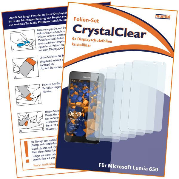 Displayschutzfolie 6 Stck. CrystalClear für Microsoft Lumia 650