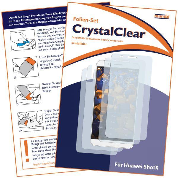 Displayschutzfolie 4 Stck. CrystalClear für Huawei Shotx (2x vorne + 2x hinten)