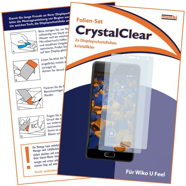 Displayschutzfolie 2 Stck CrystalClear für Wiko U Feel