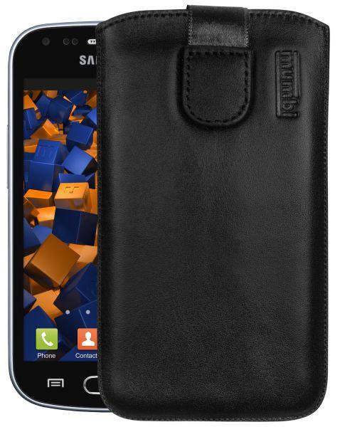 Leder Etui Tasche mit Ausziehlasche schwarz für Samsung Galaxy S Duos / Duos 2