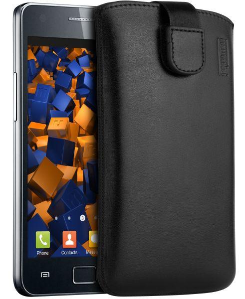 Leder Etui Tasche mit Ausziehlasche schwarz für Samsung Galaxy S2