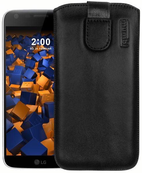 Leder Etui Tasche mit Ausziehlasche schwarz für LG G5