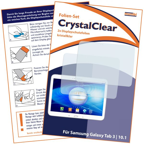 Displayschutzfolie 2 Stck. CrystalClear für Samsung Galaxy Tab 3 (10,1 Zoll)