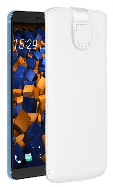 Leder Etui Tasche mit Ausziehlasche weiß für HTC U11 Plus