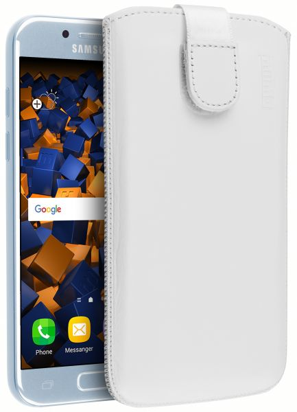 Leder Etui Tasche mit Ausziehlasche weiß für Samsung Galaxy A3 (2017)