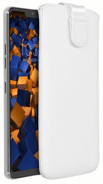 Leder Etui Tasche mit Ausziehlasche weiß für LG G7 ThinQ