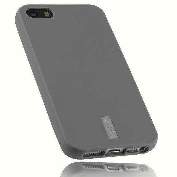TPU Hülle grau mit Logo für Apple iPhone SE / 5 / 5s