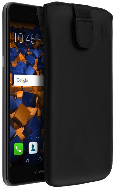 Leder Etui Tasche mit Ausziehlasche schwarz für Huawei Y6 (2017)