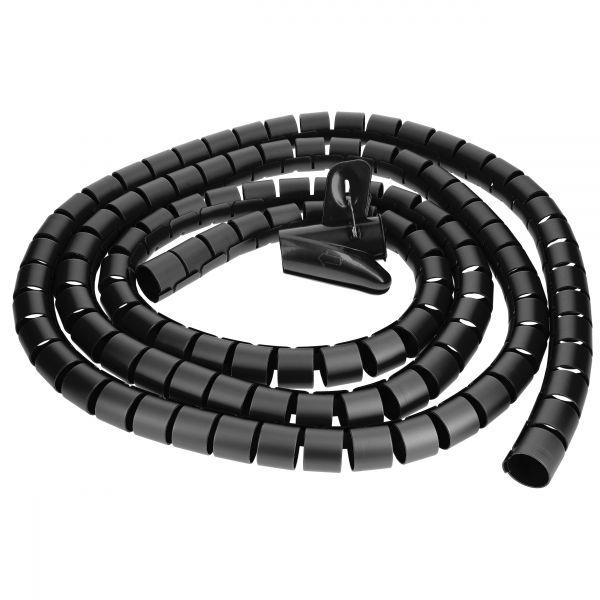 Kabelspirale, flexibler Kabelschlauch, universal Kabelkanal, 2,5m - Ø 25mm, schwarz