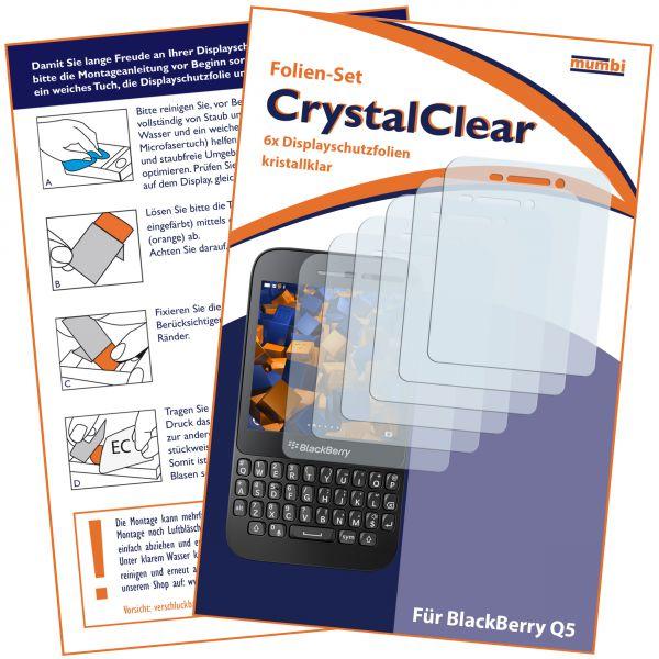 Displayschutzfolie 6 Stck. CrystalClear für Blackberry Q5