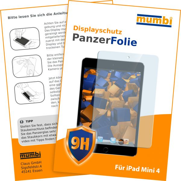Panzerglasfolie Hartglas 9H für Apple iPad mini 4 (2015)