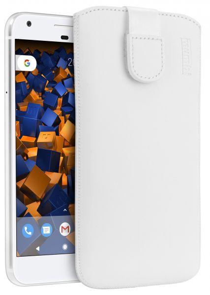 Leder Etui Tasche mit Ausziehlasche weiß für Google Pixel