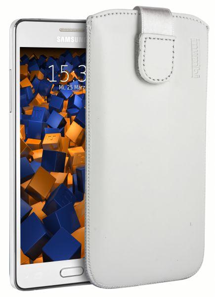 Leder Etui Tasche mit Ausziehlasche weiß für Samsung Galaxy A5 (2015)