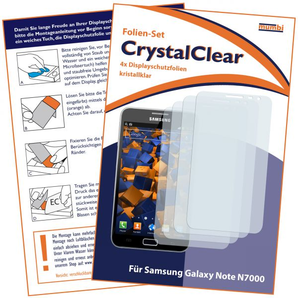 Displayschutzfolie 4 Stck. CrystalClear für Samsung Galaxy Note N7000
