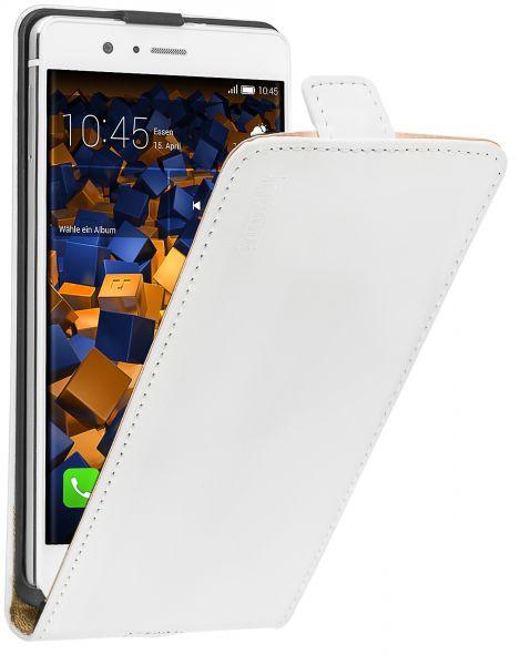 Flip Case Ledertasche weiß für Huawei P9 Lite