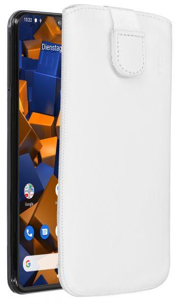 Leder Etui Tasche mit Ausziehlasche weiß für Samsung Galaxy A20e