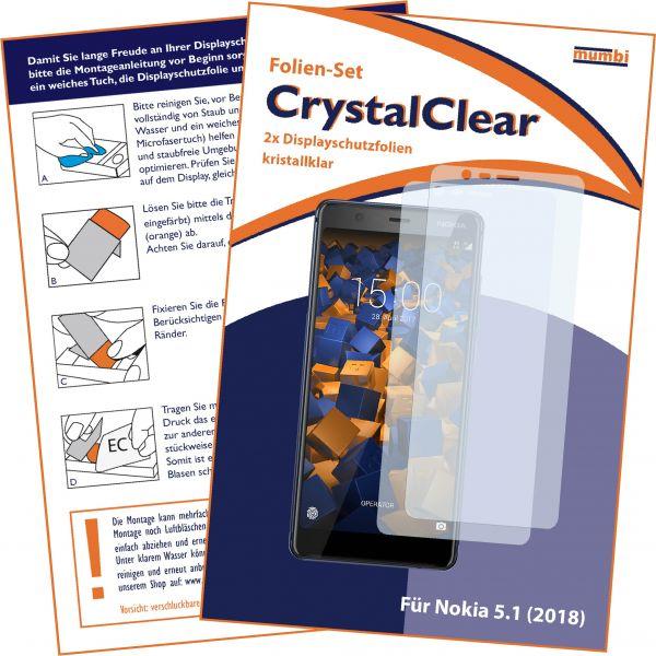 Displayschutzfolie 2 Stck. CrystalClear für Nokia 5.1 (2018)