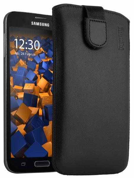 Leder Etui Tasche mit Ausziehlasche schwarz für Samsung Galaxy S5 / S5 Neo