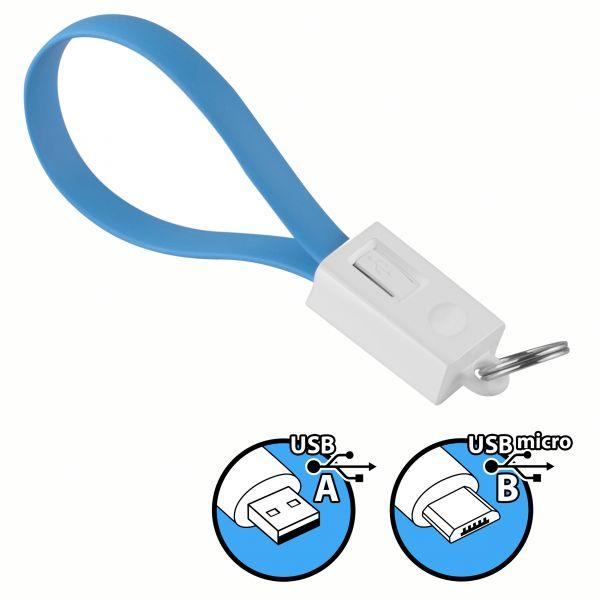Daten- und Ladekabel USB A auf micro USB B Stecker Schlüsselanhänger in Blau
