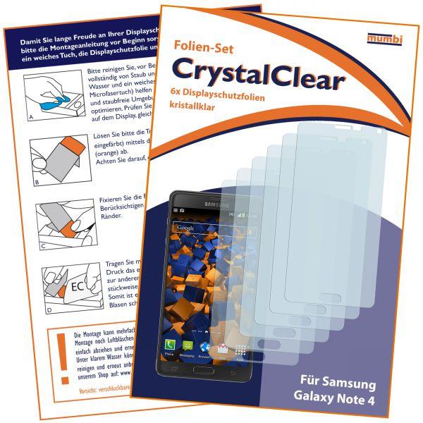 Displayschutzfolie 6 Stck. CrystalClear für Samsung Galaxy Note 4