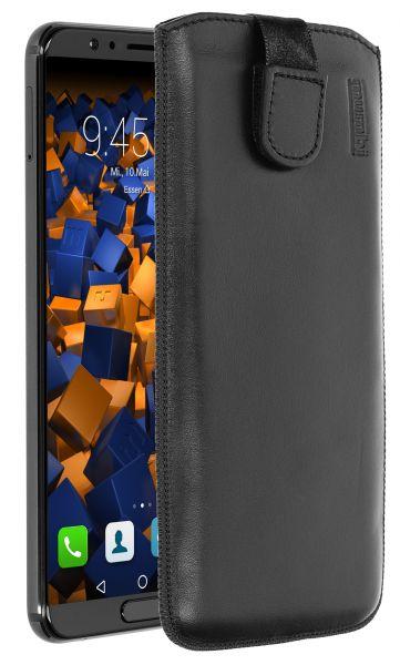 Leder Etui Tasche mit Ausziehlasche schwarz für Huawei Honor View 10