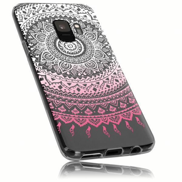 TPU Hülle transparent weiß rosa Motiv Mandala für Samsung Galaxy S9