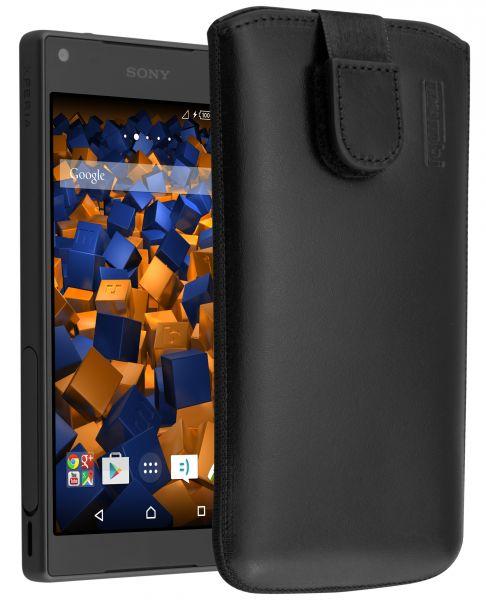 Leder Etui Tasche mit Ausziehlasche schwarz für Sony Xperia Z5 Compact