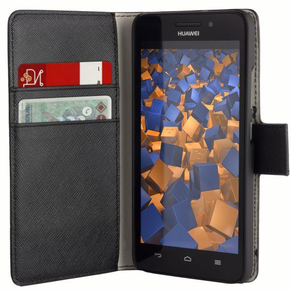 Bookstyle Tasche schwarz für Huawei Ascend G620s