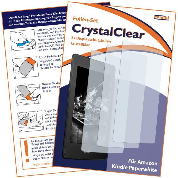 Displayschutzfolie 3 Stck. CrystalClear für Amazon Kindle Paperwhite