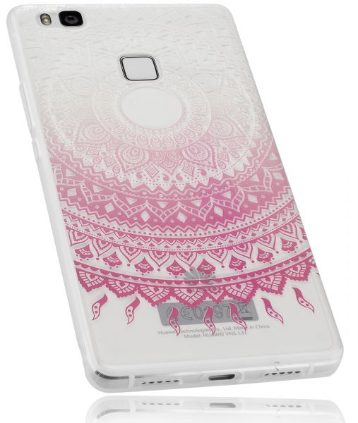 TPU Hülle rosa transparent Motiv Mandala für Huawei P9 Lite