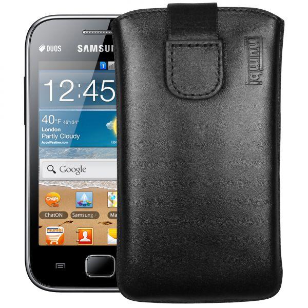 Leder Etui Tasche mit Ausziehlasche schwarz für Samsung Galaxy Ace Duos