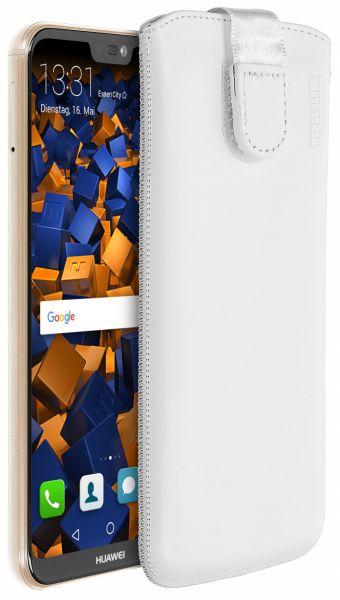 Leder Etui Tasche mit Ausziehlasche weiß für Huawei P20 Lite