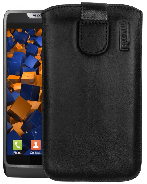 Leder Etui Tasche mit Ausziehlasche schwarz für Motorola RAZR i
